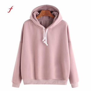 New Arrivals Ladies Solid Pink sweatshirts hoodie Long Sleeve Casual Hooded Sweatshirt Pullover Top moletom feminino 2017#LREO