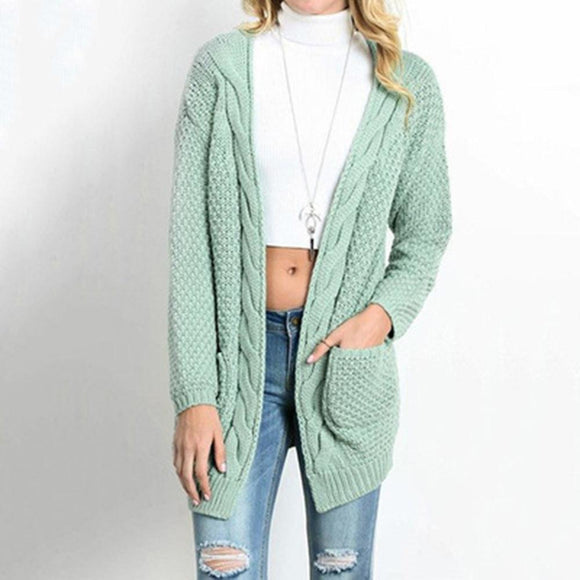 Women's Autumn Winter Long Sleeve Knitwear Open Front Cardigan Sweaters Pull Hiver Femme 2017 Sweater Outerwear gb2