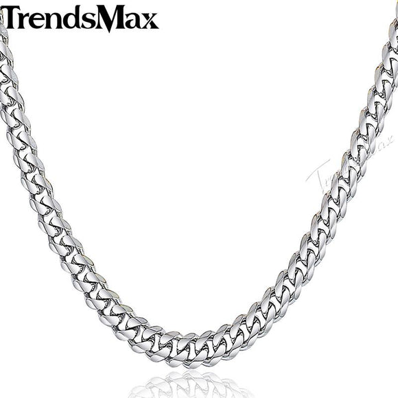 Trendsmax Mens Chain Stainless Steel Necklace Curb Cuban Link Silver Color Fashion Jewelry KNM07