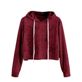 Fashion sweatshirt women Long Sleeve Hoodie Sweatshirt Jumper Hooded Pullover crop Tops Velvet sudaderas mujer 2017