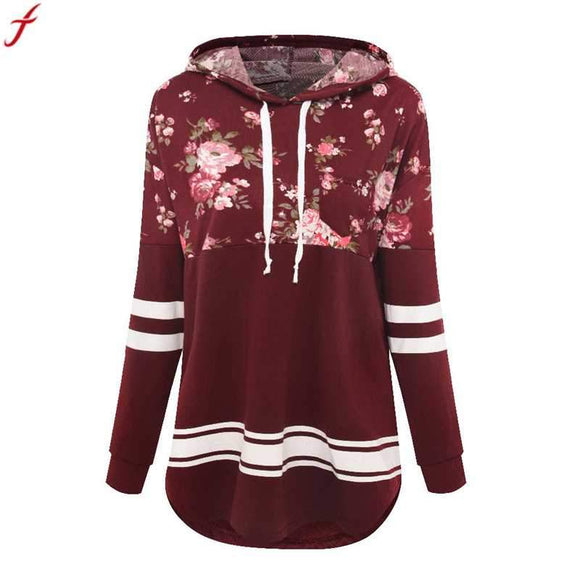 Printed Floral Hoodies Women 2017 Autumn Casual Hoodies Long Sleeve Blouse Collar Hoodies Sweatshirts Tops Sudaderas Mujer