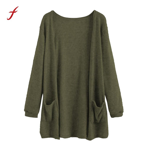 Autumn women's Cardigan knitting Coat Fashion Long Sleeve Tops Blouse Loose Long Cardigan Coat Jacket Outwear female sweater