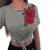 Hot T Shirt Women Fashion Sexy Bare Appliques lovely Rose Short Sleeves crop Tops Tshirt Camisetas Mujer T-Shirt