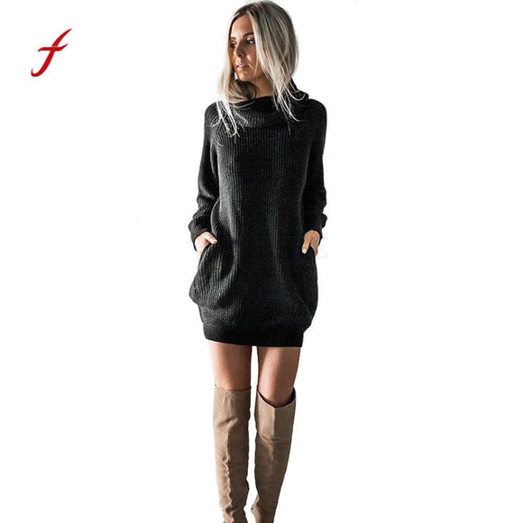 Women Sweaters Pullovers Tops Blouse 2017 Knitted Dress Roll Neck Jumper Dress Ladies Mini dresses Femininos pull femme autumn