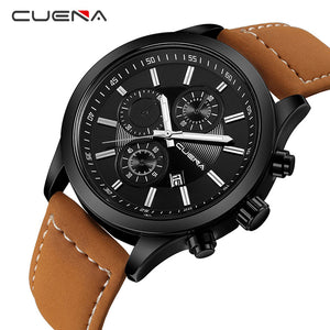 CUENA Fashion Male Clock Mens Watches Top Brand Luxury Quartz Watch Leather Calendar Waterproof Wristwatches Relogio Masculino