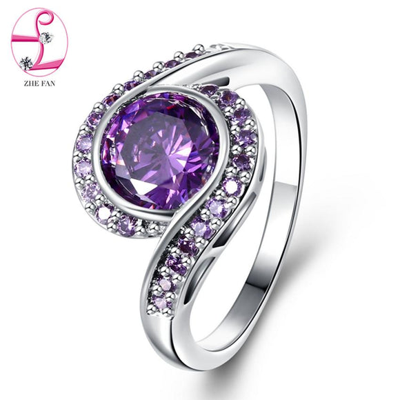 ZHE FAN Engagement Anniversary Women Rings Purple Bezel Setting AAA Cubic Zirconia Ring Fashion Jewelry Gift