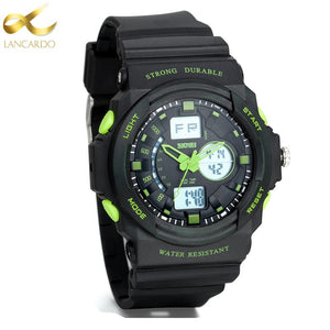Lancardo Top Brand Men Digital Sports Watches Dual Display Analog LED Electronic Quartz Watches Waterproof Wristwatches