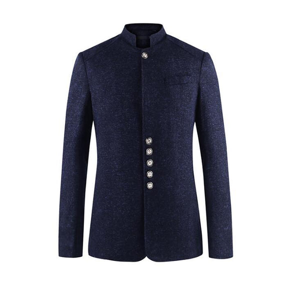 Single breasted slim fit blazer men chinese tunic suit jacket male new design suits man top fashion blazers stand collar autumn