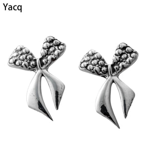 YACQ 925 Sterling Silver Bowknot Stud Earrings Birthday Party Jewelry Gifts for Women Girlfriend Her Mom Girls ping CE44