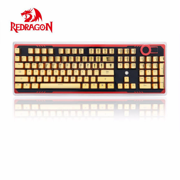 Redragon A101G 104 PBT Double Shot Injection Backlit Metallic Electroplated Gold Color Keycaps for Mechanical Switch Keyboards