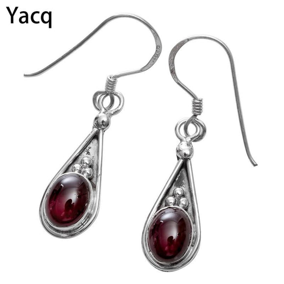 YACQ 925 Sterling Silver Garnet Dangle Earrings Jewelry Birthday Gifts for Women Wife Her Girlfriend Mom ping BE08