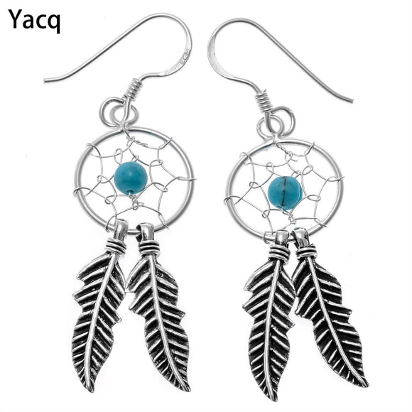 YACQ 925 Sterling Silver Dream Catcher Dangle Earrings Holiday Jewelry Birthday Party Gift Women Teen-Girl Friend Sister CE106