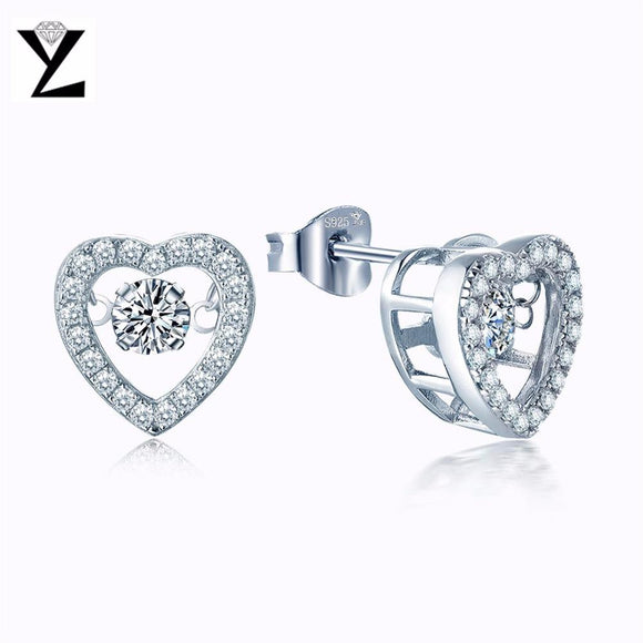 YL Natural Topaz 925 Sterling Silver Stud Earrings for Women Fine Jewelry Price with Dancing Topaz Stone for Wedding