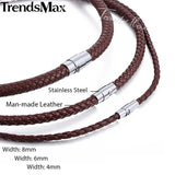 Trendsmax Black Brown Women Men Leather Choker Necklace Chain Fashion Jewelry UNM09