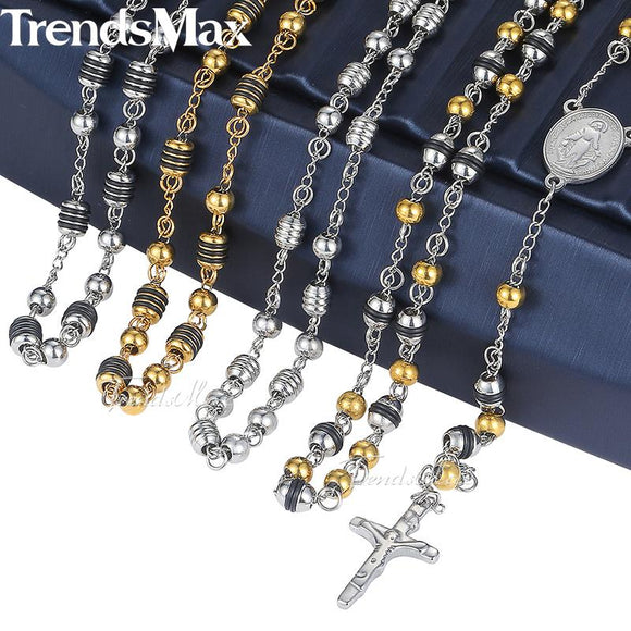 Trendsmax Rosary Jesus Christ Cross Pendant Necklace Stainless Steel Bead Chain Mens Womens Christian Jewelry KN434-KN441