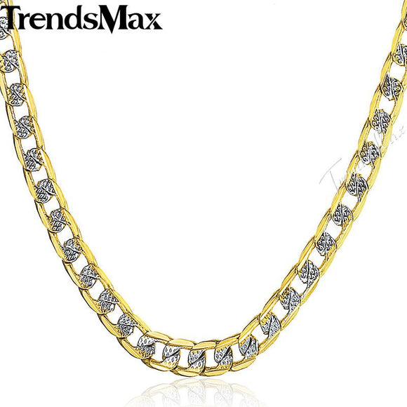 Trendsmax 4mm Womens Mens Gold Necklace Silver Yellow Curb Chain Jewelry GN64
