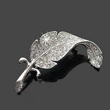 Fashion Simple Brooch Gift New Retro Vintage Cute Beautiful Leaves Feather Brooch Silver & #117