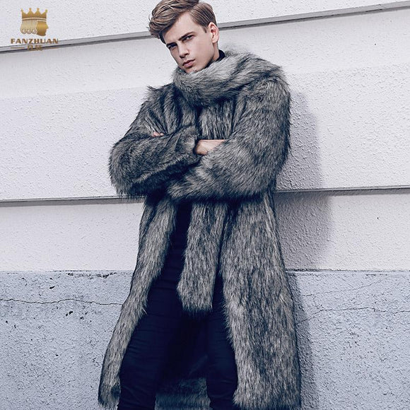 fanzhuan New 2017 fashion male Large fur collar men's fur coat winter trend fur jacket man warm plush coat 710132
