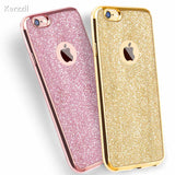 Kerzzil Luxury Clear TPU Phone Case For iPhone 7 & 8 Plus 6 6s 6 Plus SE X 5s Silicone Soft Plating Back Cover With Bling Card