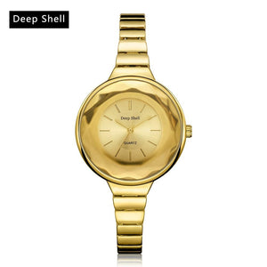 Deepshell Luxury Gold Watch Women Stainless Steel Small Band Analog Round Quartz Watch Ladies Female Clock Dress Watches time