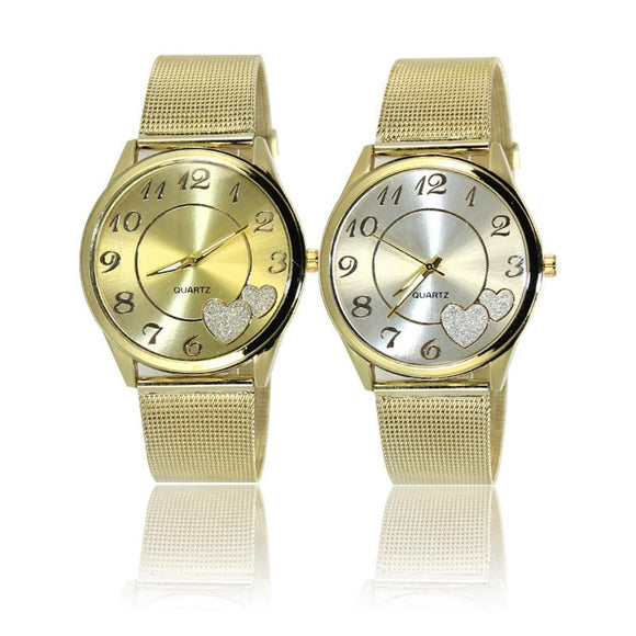 LOVE Tower Rhinestone Pendant Watches Women Clock Gift Mesh Stainless Steel Quartz Watch Montre Femme Gold Watch
