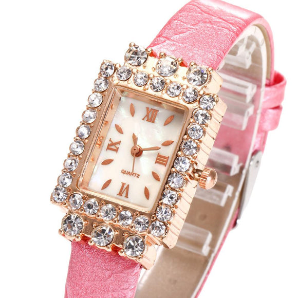 Rhinestone Rectangle Watches Women Fashion Watch 2017 Gift Top Brand Luxury PU Leather Metal Watch Bracelets Montre Femme