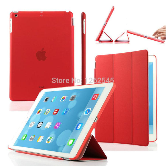 Ultra Thin Magnetic Front Smart Cover + PC Hard Transparent Back Case Stand Folio Flip PU Leather Case for Apple ipad Air
