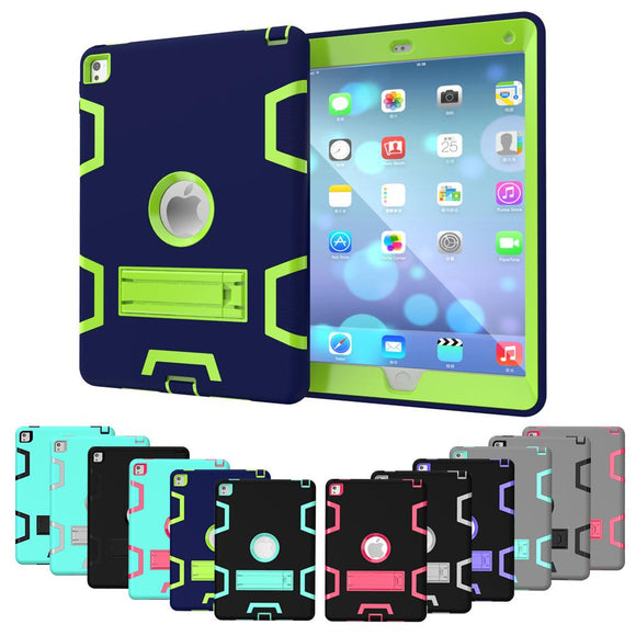 Tablet Case for Apple iPad Air 2 A1566 A1567 Extreme Heavy Duty Dustproof Shockproof Rubber Cover with Stand