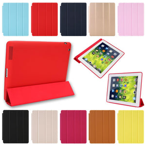 Magnetic Leather Smart Cover for Apple iPad 4th Generation 3rd Generation 2 with Rubberized Back Case