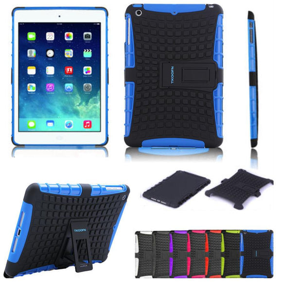 For Apple Ipad Air Protect Shell Rubber Drop Resistance Shockproff Case For Ipad Air with Bracket Stand 8 Colors