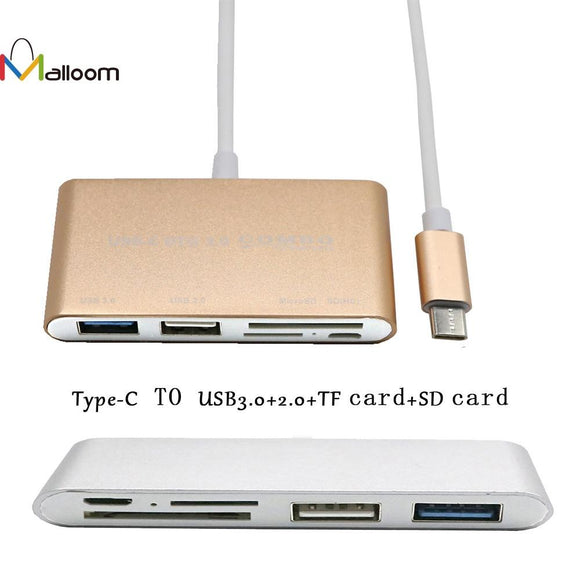 Malloom Aluminum Alloy USB 3.0 HUB 5-In-1 Type-C USB-C 3.1 OTG USB 3.0 Hub SD/TF Card Reader Combo For Laptop for Macbook#30