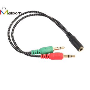 Malloom 2017 New Arrival 3.5mm Y Splitter 2 Jack Male to 1 Female Headphone Mic Audio Adapter Cable#30