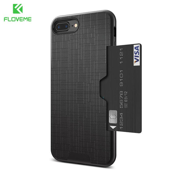 FLOVEME Card Slot Phone Case For iPhone 7 Luxury Wallet Mobile Accessories For iPhone 8 6 6s 7 Plus Cases Armor Back Cover Coque