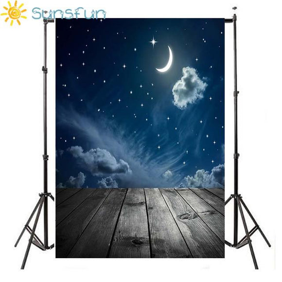 Thin Vinyl Photography Backdrop Customize Newborns Studio Backdrop Digital Printing Background Sky Moon Stars F-2748