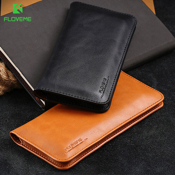 FLOVEME Universal Genuine Leather Wallet For iPhone X ten 7 Plus For Samsung Galaxy Note 8 S8 Plus S7 S6 Edge Pouch Case Bag