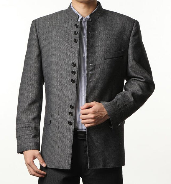 Single breasted slim fit blazer men chinese tunic suit jacket male new design suits man top fashion blazers grey stand collar