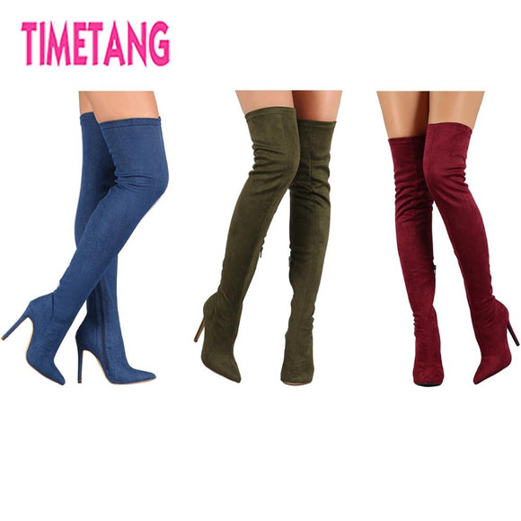 /New Year Gift Suede Elastic High Heel Thigh High Boots Women's Pointed Toe Sexy Over The Knee Winter Boots 35-43