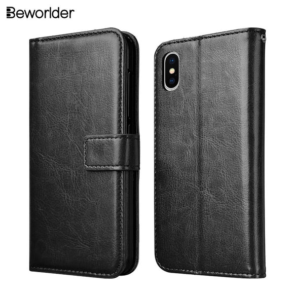 Beworlder For Apple iphone X Case Flip Wallet PU Leather Case Phone Bags Card Slots Photo Frame Soft TPU Cover For iphone X