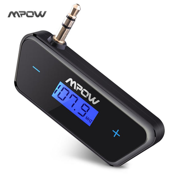 Mpow Streambot Trapezoid 3.5mm FM Transmitter Adapter Receiver with LCD Screen