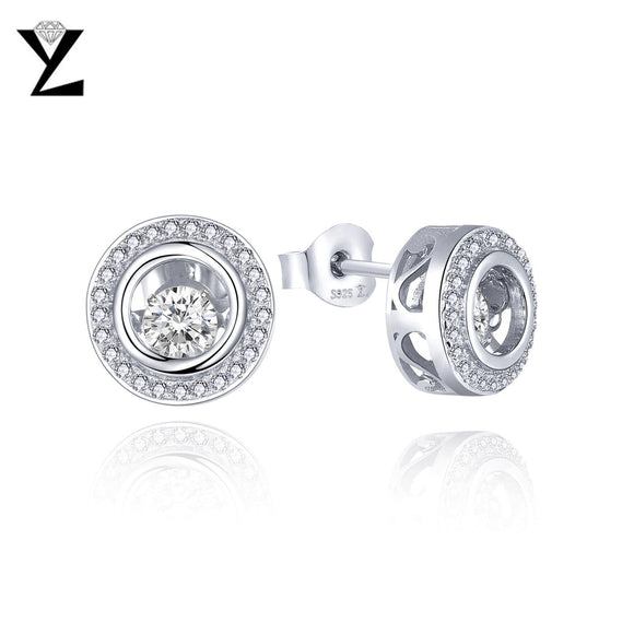YL 925 Sterling Silver Stud Earrings for Women Fine Jewelry Wholesale Wedding Engagement with Dancing Natural Stone Earrings