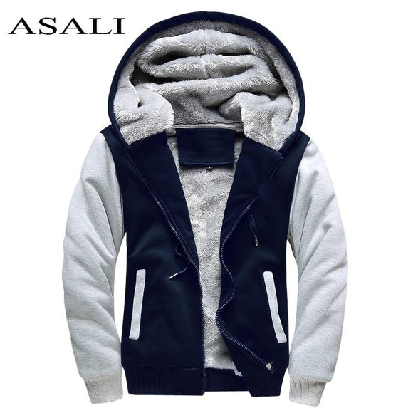 ASALI Bomber Jacket Men 2017 New Brand Winter Thick Warm Fleece Zipper Coat for Mens SportWear Tracksuit Male European Hoodies