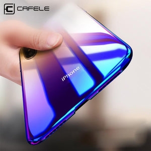 CAFELE Case For iPhone X 10 Originality luxury Aurora Gradient Color Transparent Case For iPhone X 10 light Cover Hard PC Cases