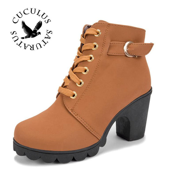 Cuculus New Autumn Winter Women Boots High Quality Solid Lace-up European Ladies shoes PU Fashion high heels Boots 656