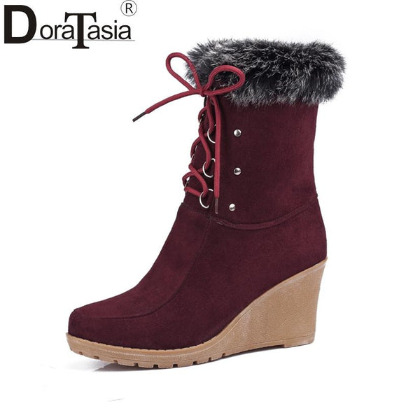 2017 Fashion Lace Up Half Knee High Boots High Heels Wedges women Shoes Rabbit Fur Upper Platform Lace Up Winter Boots