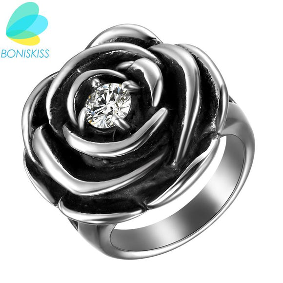 Boniskiss Crystal Flower Wedding Rings For Women Jewelry Bague Bijoux Vintage Silver Color Femme Engagement Ring Accessories