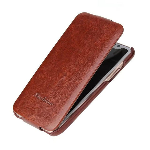 Luxury Flip Leather Case For iPhone X Vintage Brand Back Cover For iPhone X Vertical Flip up Phone Case