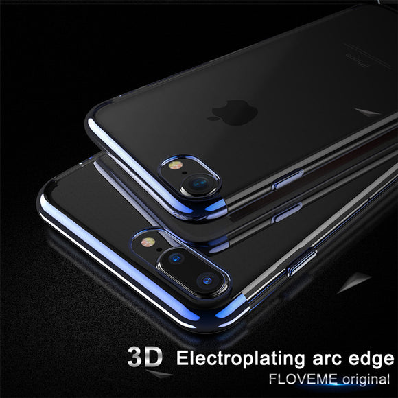 FLOVEME Luxury Phone Case For iPhone X ,Transparent Silicon For iPhone 6 6s 8 7 Plus 10 Cases Ultra Thin iPone Cover Shell