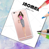 Fashion Drink Coffee Girl Phone Case For iPhone X 6 6S PLUS 5 5S SE 7 7Plus 8 8Plus Transparent Silicone Phone Back Fundas Cover