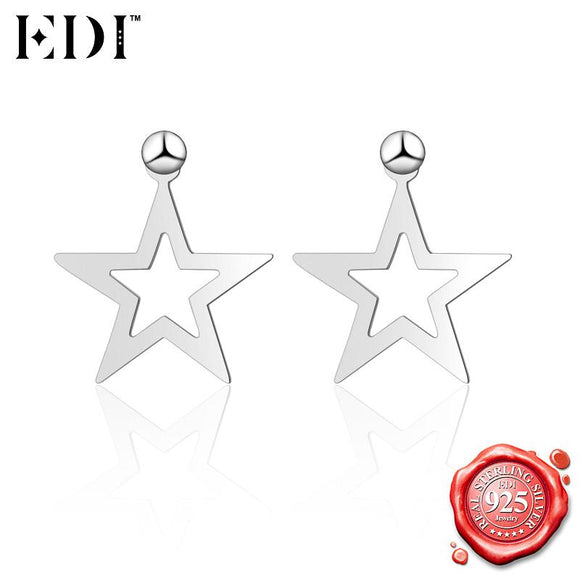 EDI Fashion Punk 925 Sterling Silver Star Stud Earrings for Women Classic Hollow Silver Earrings Party Charm Jewelry Brincos