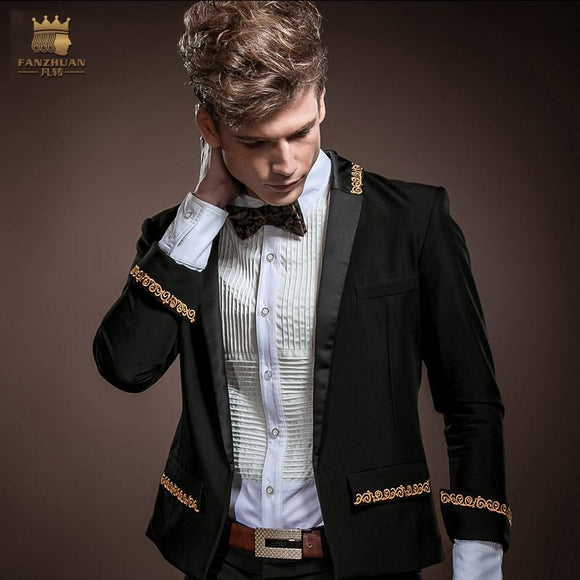 FANZHUAN Gothic Clothing Men Slim Fit Blazers New Arrival Fashion Party Men Ultra Thin Suit Jacket tuxedos Wedding Suits Jacket